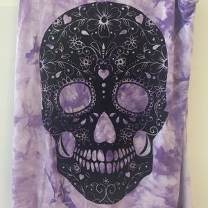 Hot Topic Tops - NWT HOT TOPIC tank purple - black sparkly skull 💀